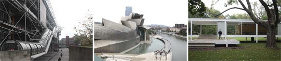 Image of my travel photos - Paris (Centre Pompidou) Spain (Guggenheim Bilbao) Chicago (Farnsworth House)