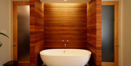 modern-residential-bathtub-and-teak-wall